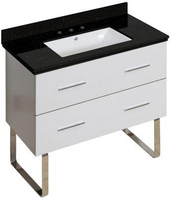 36-in. W Floor Mount White Vanity Set For 3H8-in.Drilling Black Galaxy Top White UM Sink