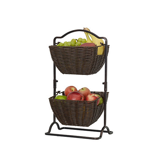 Gourmet Basics by Mikasa Brinley 2 Tier Basket Over Cabinet Storage