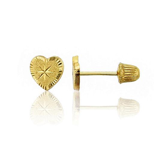 14K Gold 5mm Heart Stud Earrings