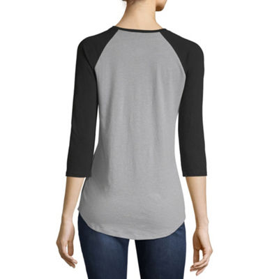 City Streets 3/4 Sleeve Crew Neck T-Shirt-Womens Juniors