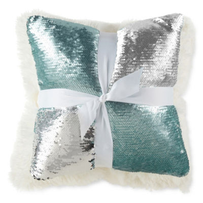 JCPenney Home Aqua Silver Mermaid and Cream Rabbit 2 Pack Throw Pillows