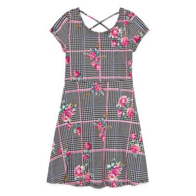 Arizona Short Sleeve Checked A-Line Dress Girls