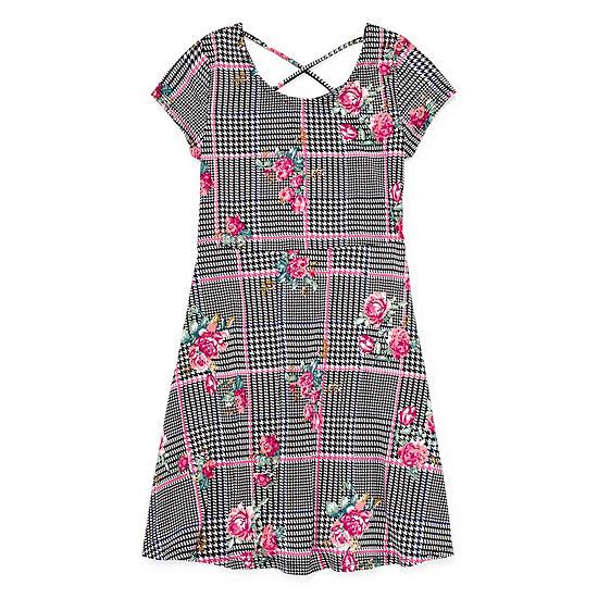Arizona Girls Short Sleeve Checked A-Line Dress