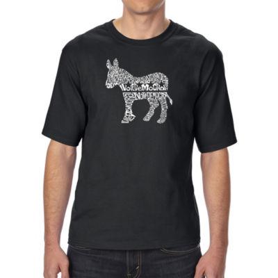 Los Angeles Pop Art Men's Tall and Long Word Art T-shirt - I Vote Democrat