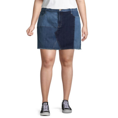 Arizona Patched Denim Skirt-Juniors Plus