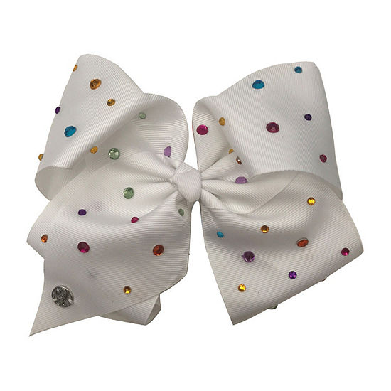 Jojo Siwa Large White Multi Color Gem Rhinestone Signature Hair Bow -  JCPenney 8dc2e6a39d