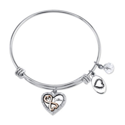 Footnotes Footnotes Womens Clear Silver Over Brass Bangle Bracelet