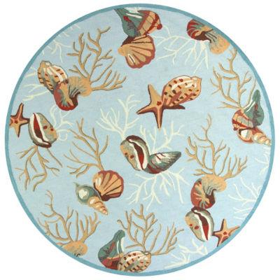 Kas Coral Reef Hooked Round Rugs