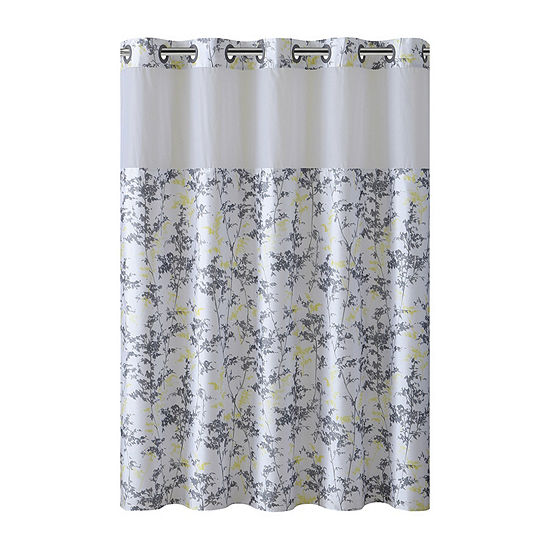 Floral Leaves Hookless Shower Curtain