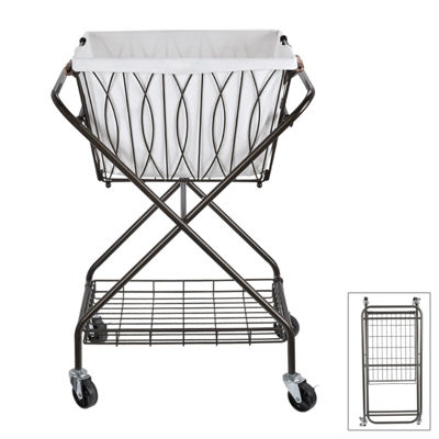Gourmet Basics by Mikasa Art Verona Laundry Bskt Canvas Gb Utility Cart