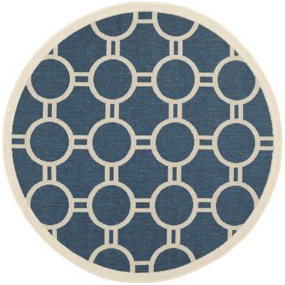 Safavieh Courtyard Collection Shag Geometric Indoor/Outdoor Round Area Rug