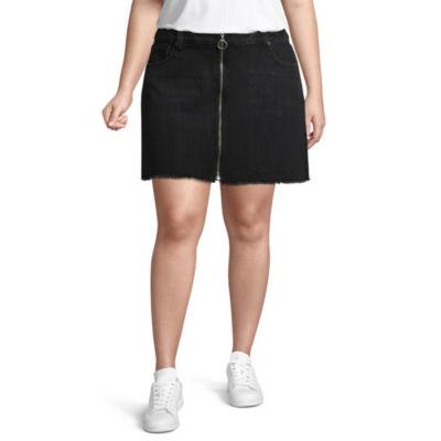 Arizona Zip Ring Denim Skirt-Juniors Plus