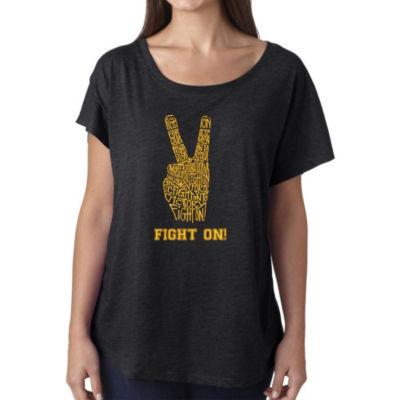 Los Angeles Pop Art Women's Loose Fit Dolman Cut Word Art Shirt - USC