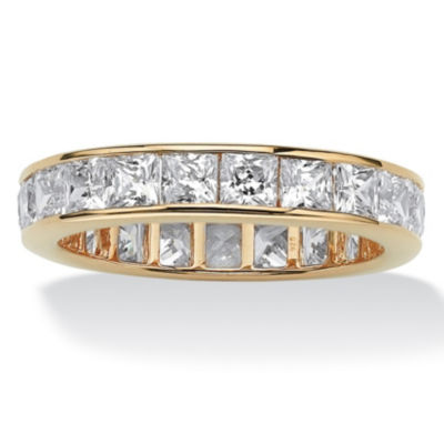 Diamonart Womens 4mm 5 1/4 CT. T.W. White Cubic Zirconia 18K Gold Over Silver Square Band