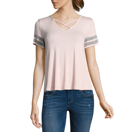 Pink Rose Short Sleeve V Neck T-Shirt-Womens Juniors