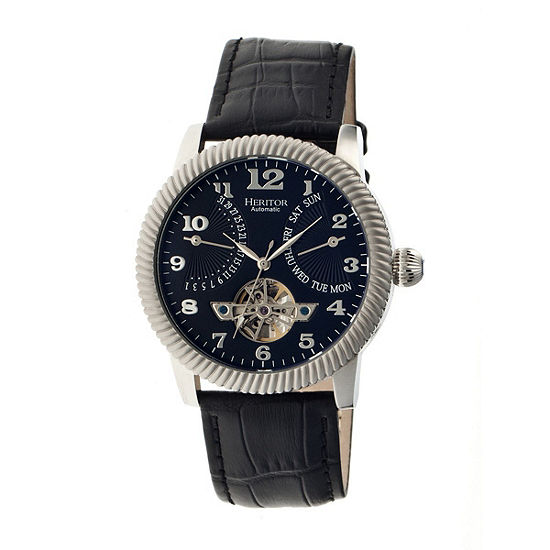 Heritor Automatic Piccard Mens Semi-Skeleton Leather Date-Silver/Black Watches