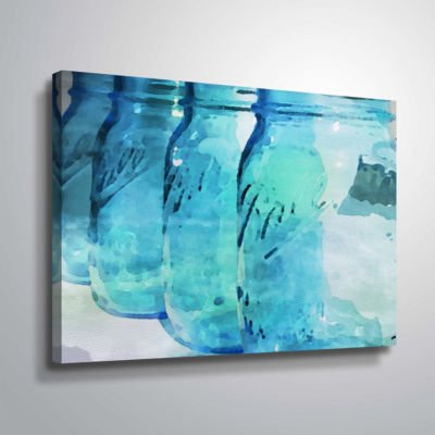 Brushstone Ball Blue Gallery Wrapped Canvas
