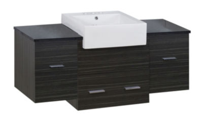 50.75-in. W Wall Mount Dawn Grey Vanity Set For 3H4-in. Drilling Black Galaxy Top
