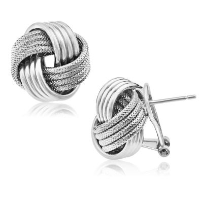 Sterling Silver Knot Clip On Earrings