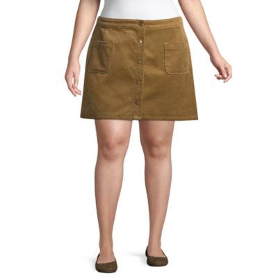 Arizona Corduroy Denim Skirt-Juniors Plus