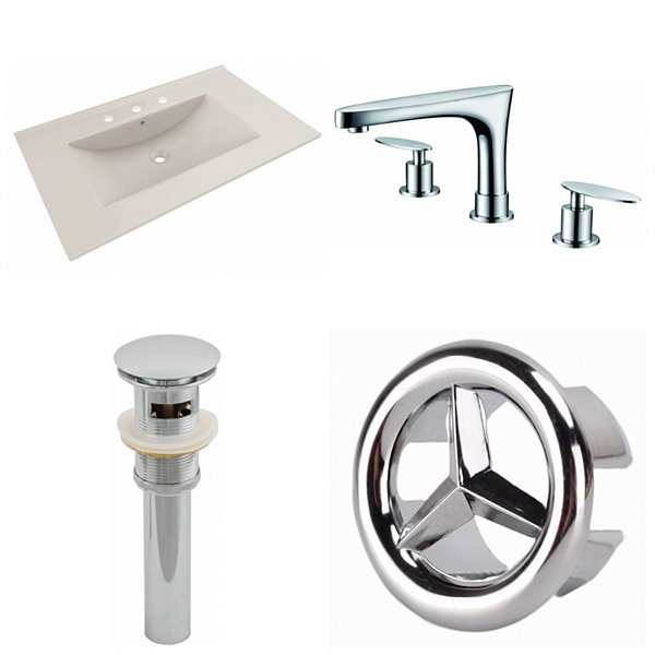 35.5-in. W 3H8-in. Ceramic Top Set In Biscuit Color - CUPC Faucet Incl.  - Overflow Drain Incl.