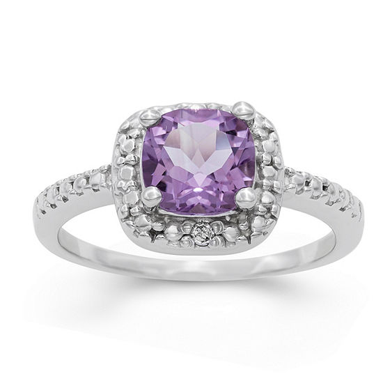 Womens Genuine Purple Amethyst Sterling Silver Halo Cocktail Ring