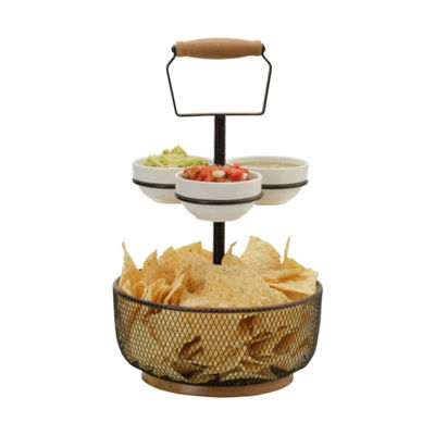 Gourmet Basics by Mikasa Thread Server W 3 Bowls Gb Chip + Dip Set
