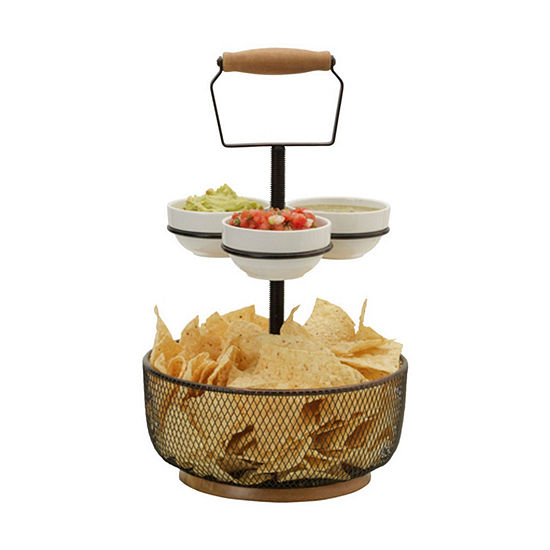 Gourmet Basics by Mikasa Thread Server W 3 Bowls Gb Chip + Dip Set