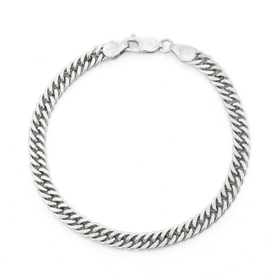 Sterling Silver 8 1/2 Inch Solid Curb Chain Bracelet