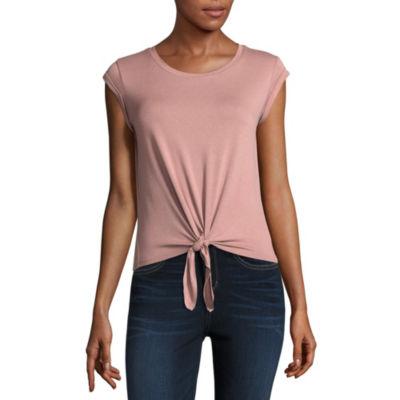 Pink Rose Short Sleeve Scoop Neck T-Shirt-Womens Juniors