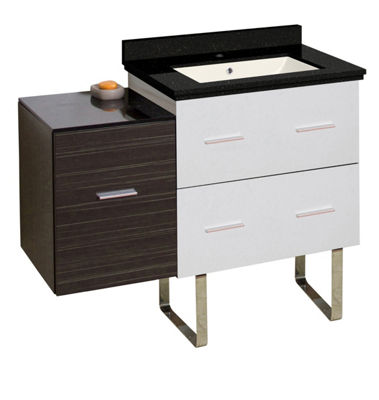 37.75-in. W Floor Mount White-Dawn Grey Vanity SetFor 1 Hole Drilling Black Galaxy Top Biscuit UM Sink