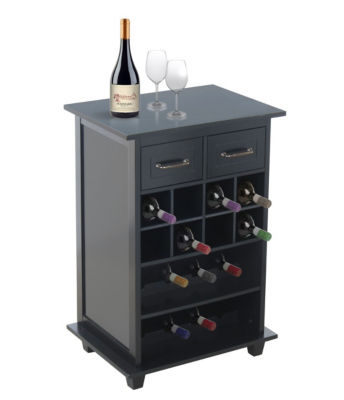 16-Bottle Wood Wine Storage Table With Two Drawers