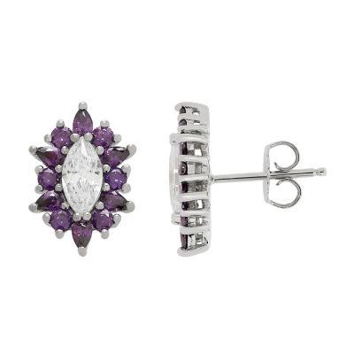 Diamonart Purple Cubic Zirconia 16mm Stud Earrings