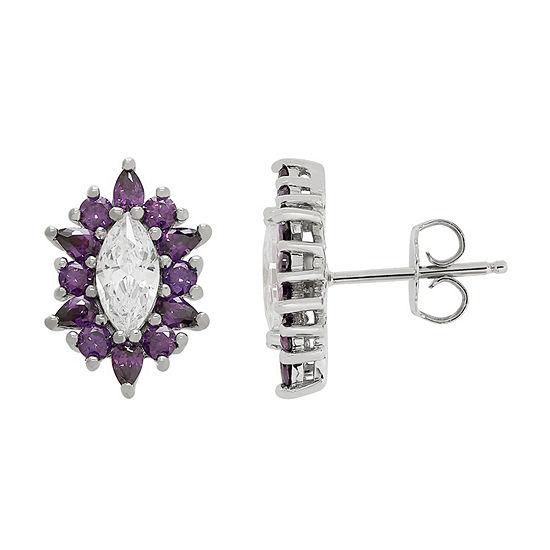 Diamonart Purple Cubic Zirconia Sterling Silver 16mm Stud Earrings