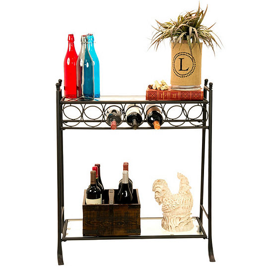 7 Bottle Metal Wine Storage Table With Glass Shelves