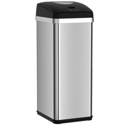 iTouchless halo 13 Gallon Touchless Trash Compactor Automatic Trash Can, Stainless Steel Sensor Kitchen Trash Can with Deodorizer - Use Fewer Trash Bags