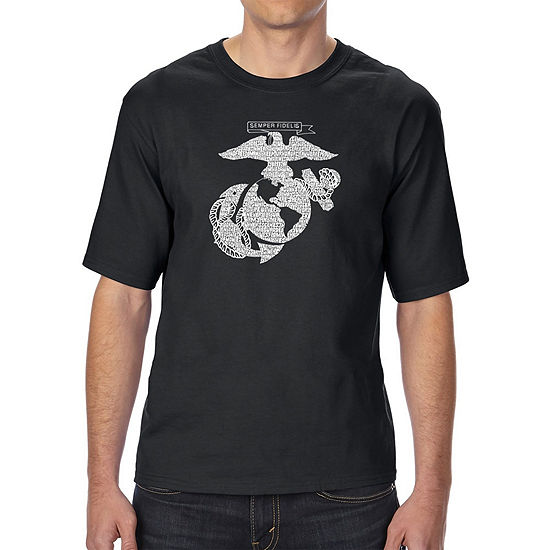 Los Angeles Pop Art Men's Tall and Long Word Art T-shirt - LYRICS TO THE MARINES HYMN