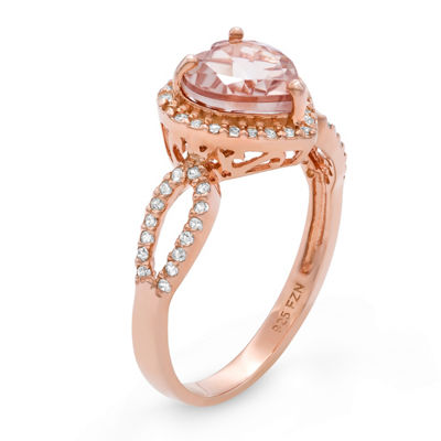 Womens Pink 14K Gold Over Silver Cocktail Ring