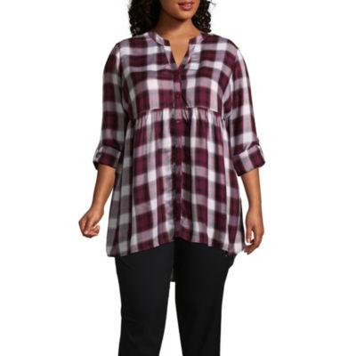 Boutique + 3/4 Sleeve Button-Front Plaid Babydoll - Plus