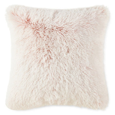JCPenney Home Rose White Sequin and Furry Rose 2 Pack Throw Pillows