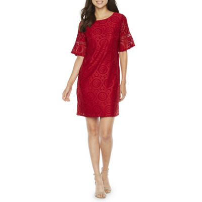 R & K Originals Short Bell Sleeve Lace Sheath Dress