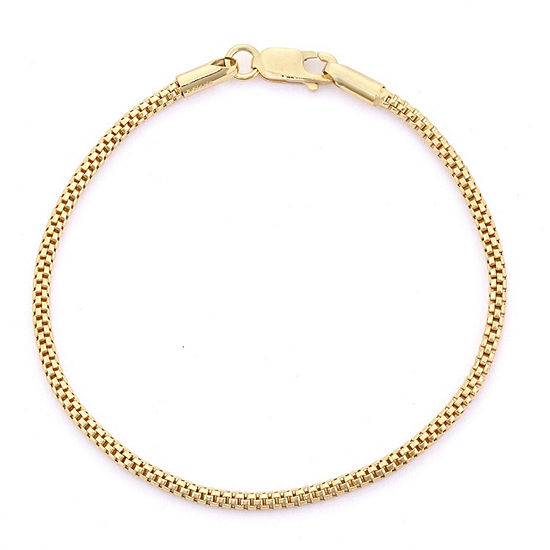 10K Gold Over Silver 7.25 Inch Solid Curb Chain Bracelet
