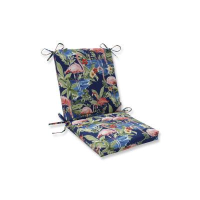 Pillow Perfect Flamingoing Lagoon Squared CornersPatio Chair Cushion