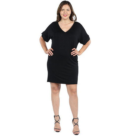 24/7 Comfort Apparel Ashton Mini Dress - Plus