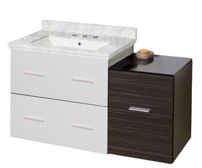 37.75-in. W Wall Mount White-Dawn Grey Vanity SetFor 3H8-in. Drilling Bianca Carara Top White UM Sink