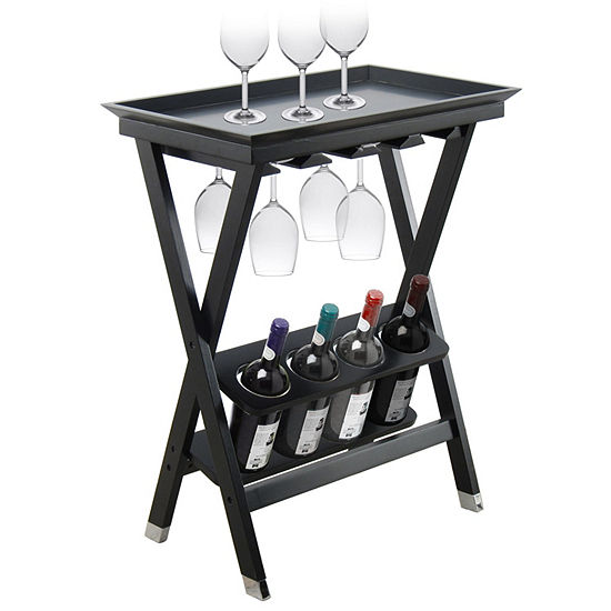 4 Bottle Folding Wood Wine Storage Table With Removable Serving Tray