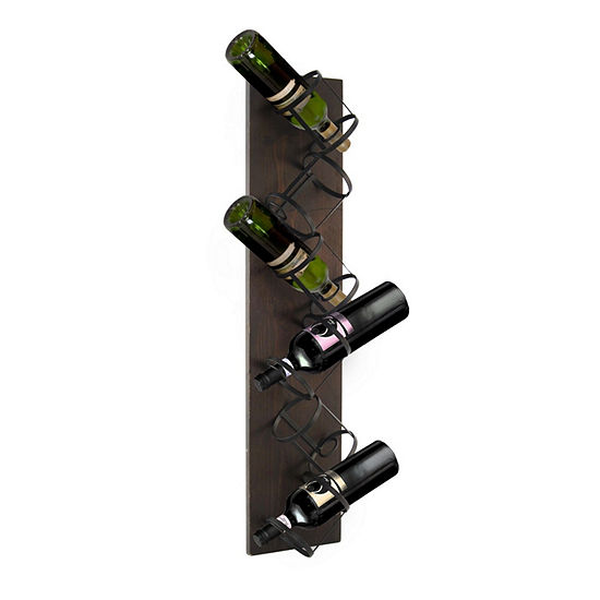 Espresso Finish Wood and Metal 6-Bottle Hanging Wine Rack