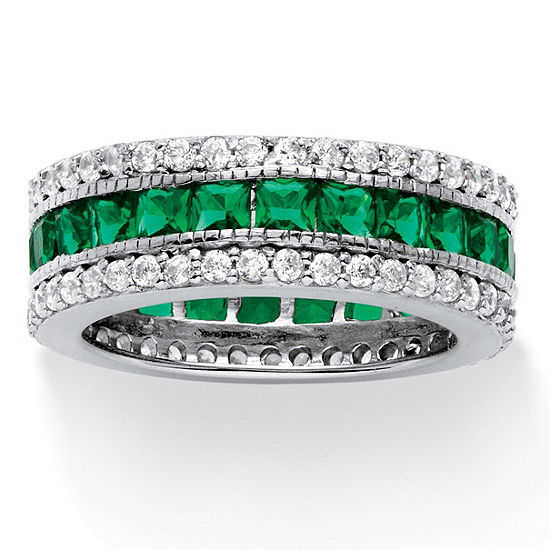 Diamonart Womens Green Emerald Platinum Over Silver Square Cocktail Ring