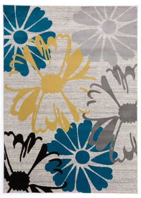 World Rug Gallery Contemporary Modern Large Floral Flowers Rug Collection