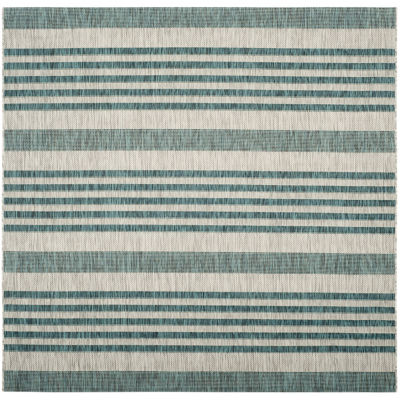 Safavieh Courtyard Collection Major Stripe Indoor/Outdoor Square Area Rug